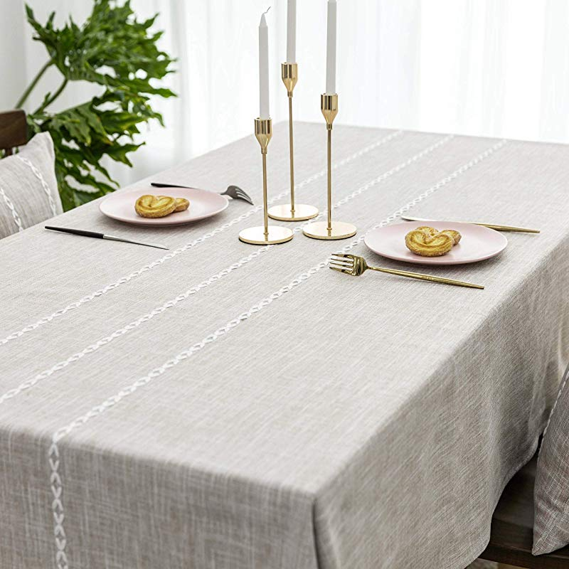 HOME BRILLIANT Tablecloth Rectangle Lattice Stripe Table Cover For Party Wedding Table Decoration Oblong 52 X 86 Inches Light Linen