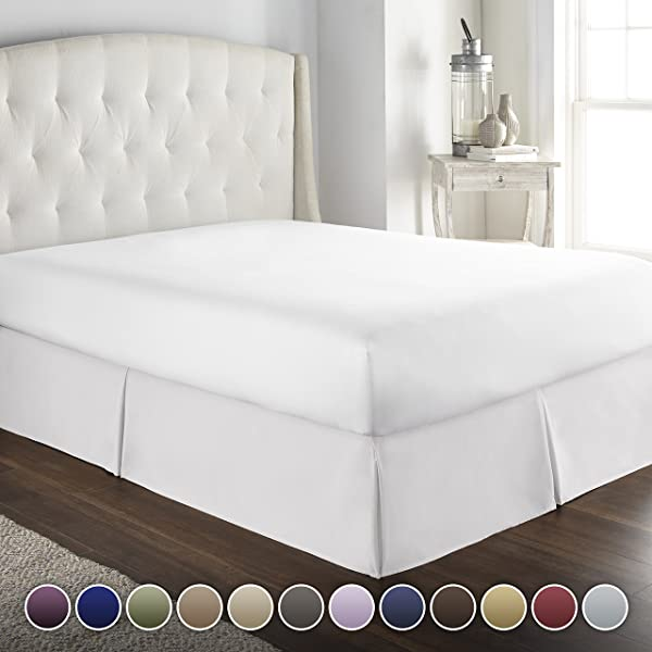 Hotel Luxury Bed Skirt Dust Ruffle 1800 Platinum Collection 14 Inch Tailored Drop Wrinkle Fade Resistant Linens King White