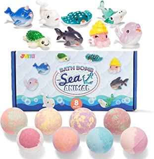 Bath Bombs for Kids with Sea Animal Toys, 8 Pack Bubble Bath Bombs with Surprise Toy Inside, Natural Essential Oil SPA Bat...