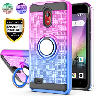 AYMECL Coolpad Illumina (2018) Case,Coolpad Legacy Go Case with HD Screen Protector, 360 Degree Ring Holder Gradient Dual Layer Protective Case for Coolpad 3310A-BG Purple&Blue