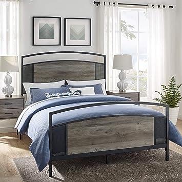 Amazon Com Walker Edison Furniture Company Industrial Metal And Wood Queen Size Headboard Footboard Bed Frame Bedroom Grey Wash Furniture Decor