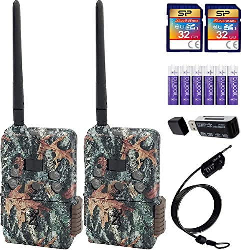 lowest Browning BTC-DWPS-VZW Defender Pro Scout Cellular Trail Cameras for Verizon x2 Bundle with Silicon Power new arrival 32GB SDHC Cards x2, Blucoil 6 AA outlet online sale Batteries, 6.5' Cable Lock, and VidPro USB Card Reader sale