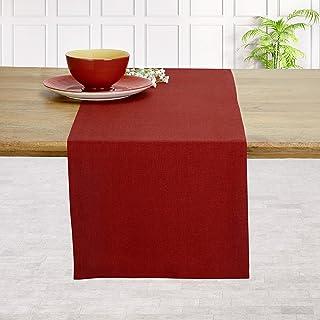 D'Moksha Homes 100% Pure Linen Hemmed Table Runner - 14 x 60 Inch Divine Red, Premium Natural Fabric European Flax, Machin...