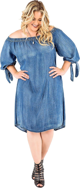 Standards & Practices Plus Size Women's Denim Tencel Off Shoulder Peasant Dress