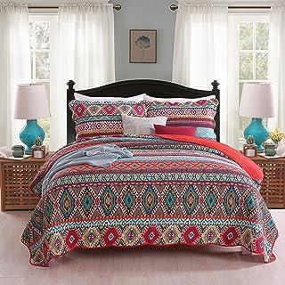 Qucover Tagesdecke Boho 250x270cm aus Baumwolle, Bunte Gesteppte Decke mit Kissen Set, Bettüberwurf 240 x 260 für Doppelbett, Indischer Stil