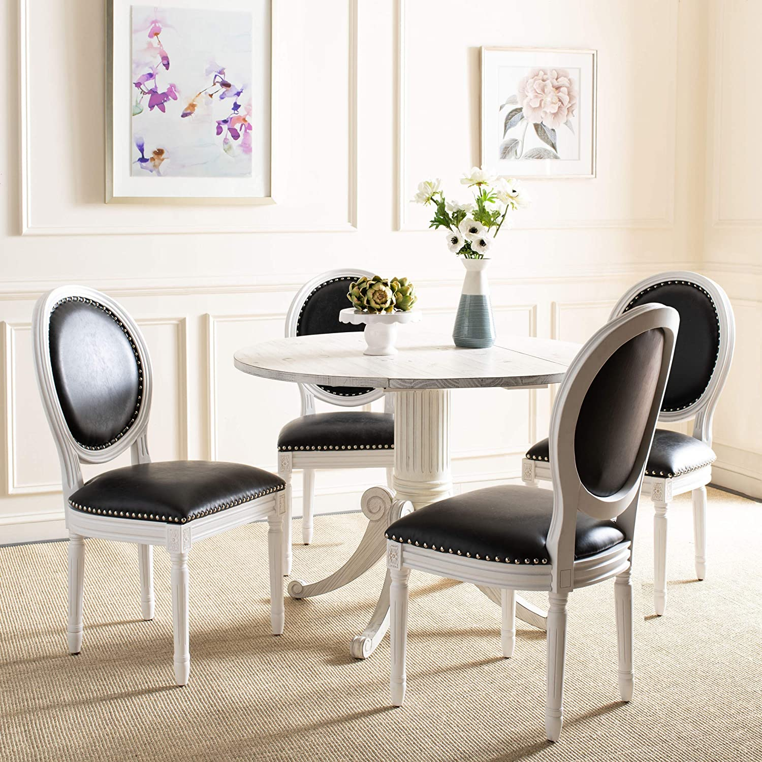 Best Overall: Safavieh Home Collection Linen Oval Side Chair.