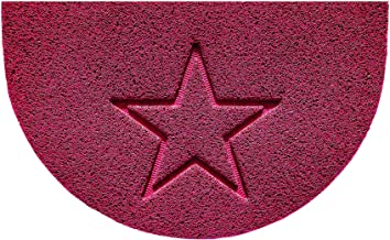 Nicoman Embossed Halfmoon Half Circle Door Mat Dirt-Trapper Jet-Washable Doormat 70x44cm (Pink, Star Shape) - Use Indoor o...