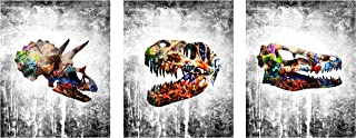 Dinosaur Modern Graffiti Home Wall Decor Art Prints - 3 Piece 8 x 10 Set - Cute Wall Hangings for House, Bedroom, Nursery or Boys/Kids Room. Decorations/House Decore ft Raptor, T-rex, Triceratops