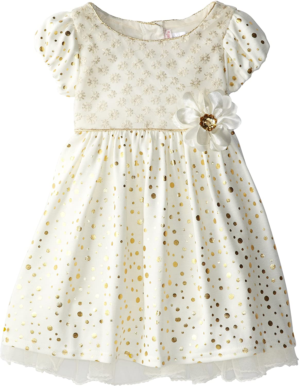 Youngland Little Girls' Metallic Dot Occasion Dress