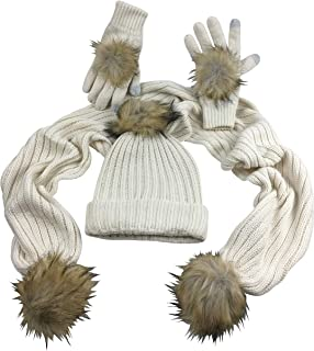 N'Ice Caps Big Girls Warm 2 Ply Knit Faux Fur Hat/Scarf/Gloves Accessory Set