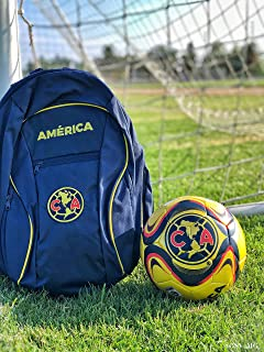 Club America Soccer Backpack and Liga MX America Soccer Ball Size 5 Gift Set Bundle Official Licensed Soccer Bag with Ball Holder