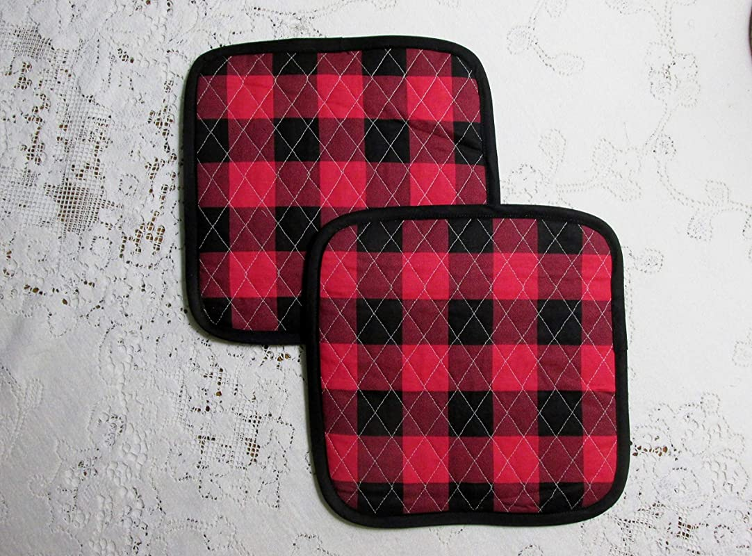 Buffalo Plaid Pot Holders Or Hot Pads Set Of 2 9 5 Inch Square Lined With Insul Bright