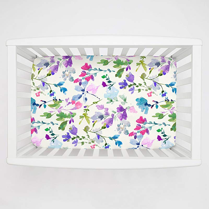Carousel Designs Bright Wildflower Mini Crib Sheet 1 Inch 4 Inch Depth Organic 100 Cotton Fitted Mini Crib Sheet Made In The USA