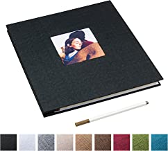Self Adhesive Photo Album Magnetic Scrapbook Album 40 Magnetic Double Sided Pages Linen Hardcover DIY Photo Album Length 11 x Width 10.6 (Inches) with A Metallic Marker Pen (Black)