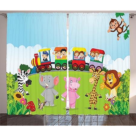 Ambesonne Girls Boys Nursery Kids Baby Decor Collection 108X63 Inches Window Treatments for Kids Bedroom Curtain 2 Panels Set Cute Jungle Cartoon Animals Parrot Bird Bunny Fox Giraffe Monkey Art