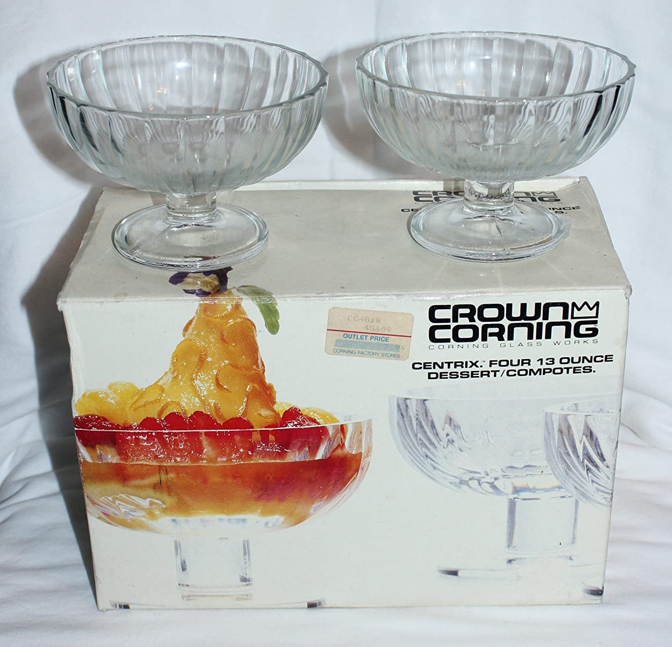 復活推定荒涼としたCrown Corning Glass Works Centrix 380ml Dessert Compotes, Set of 4