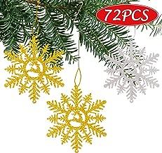 luck sea 72PCS Snowflake Christmas Tree Ornaments Decorations Hanging Decor Xmas Winter Wonderland Holiday Theme Party Supplies