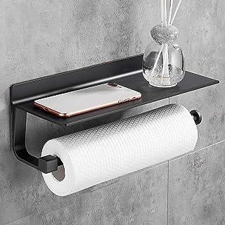 Gricol Porte Essuie Tout Support Porte Papier Mural Support Rouleau Tablette Cuisine Aluminium Adhesif Etagere a Epices Noir