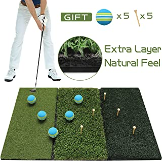 Running Raccoon Tri-Turf Golf Hitting Driving Mat, Practice Mat, Foldable Portable, Chipping Putting Green, Swing Trainer, Training Aids for Backyard Indoor & Outdoor Practice with Tees and Foam Balls