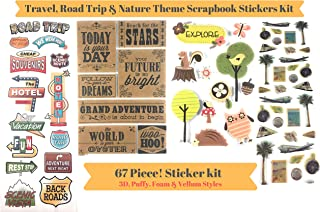 67 Piece! Travel, Road Trip & Nature Theme Scrapbook Stickers Kit | Vintage Stickers Bundle | Perfect for Scrapbooking. Card Making & Planner Stickers