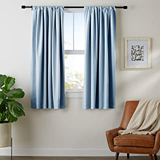 AmazonBasics Room Darkening Blackout Window Curtains with Tie Backs Set, 52