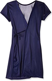 Fabme Women's Satin Dressing Gown (NW059_Navy Blue_Free)