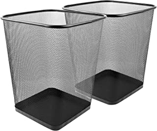 Greenco, Black Mesh Trash Can Wastebaskets, Square, 6 Gallon, 2 Pack