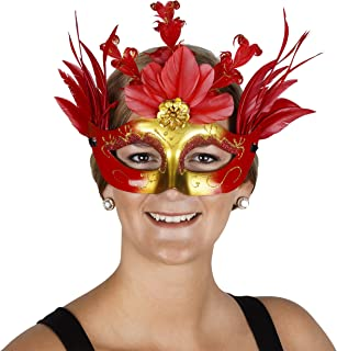 Zucker Feather Products Queen of Hearts RED Feather MASK