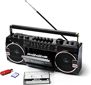 Ricatech Ghettoblaster PR1980 - Reproductor de cassette, 2 altavoces X-Bass de 8 vatios, slot USB, SD, radio y micrófono integrado, color negro