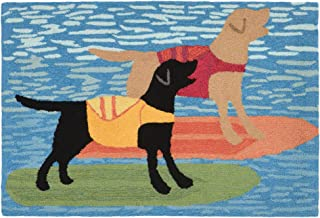 Liora Manne FTP34188104 1881/04 Front Porch Coastal Summer Surfboard Dogs Ocean Indoor/Outdoor Rug, 2'6
