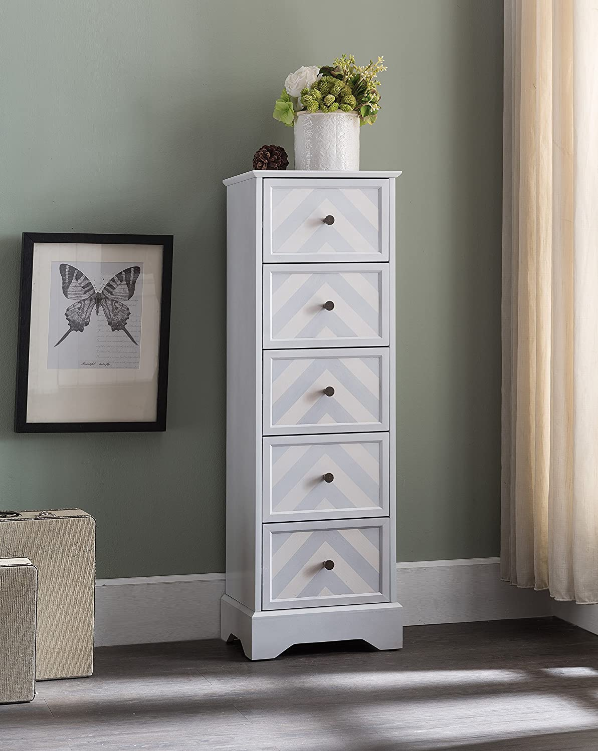 Kings Brand Furniture Wash White Finish Wood 5 Drawer Tall Accent Storage Cabinet