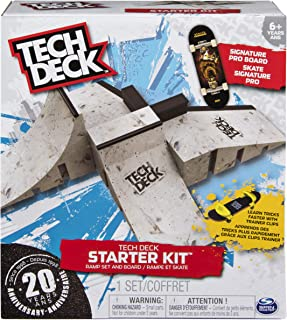 Tech Deck – Starter Kit – Ramp Set with Exclusive Board and Trainer Clips