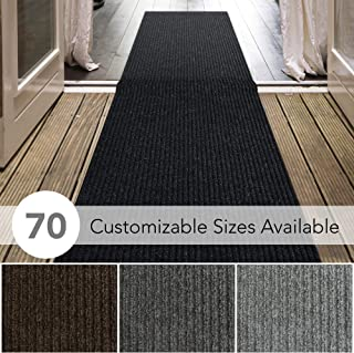 iCustomRug Spartan Weather Warrior Duty Indoor/Outdoor Utility Ribbed in 3ft,4ft,6ft Widths 70 Custom Sizes with Natural Non-Slip Rubber Backing 3' x 8' in Black