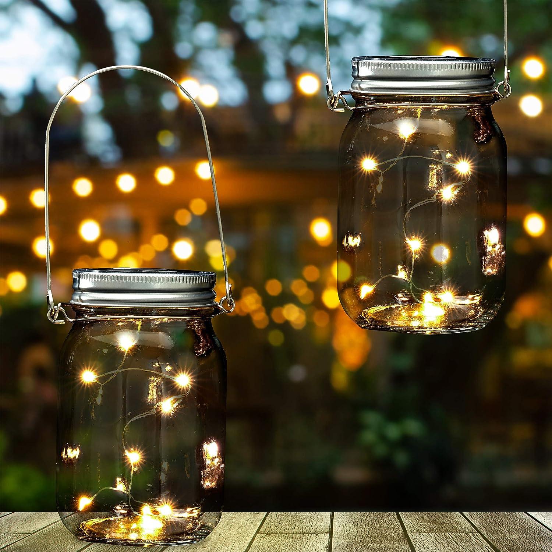 16+ Relaxdays 8x Solar Glas im Set, je 8 LED im Einmachglas ... Image