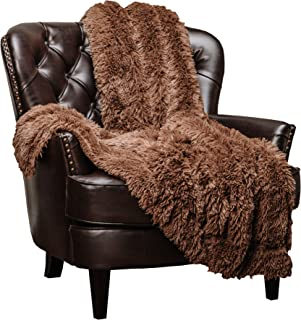 Chanasya Super Soft Shaggy Longfur Throw Blanket | Snuggly Fuzzy Faux Fur Lightweight Warm Elegant Cozy Sherpa Fleece Microfiber Blanket | for Couch Bed Chair Photo Props - (50x65)- Chocolate