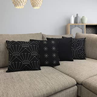 Mottoman Throw Pillow Cases 18x18 Set of 4 Geometric Design Decorative Cushion Covers Black