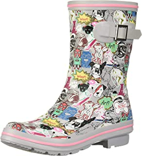 Skechers Women's Check-Mixed Media Print Rain Boot