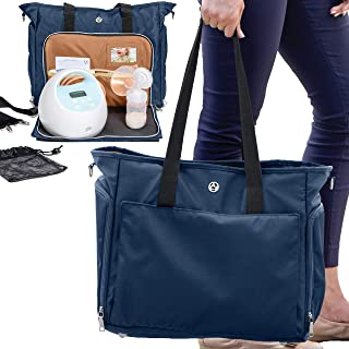 Zohzo Lauren Breast Pump Bag - Portable Tote Bag Great for Travel or Storage – Includes Padded Laptop Sleeve - Fits Most Major Brands Including Medela and Spectra (Navy)