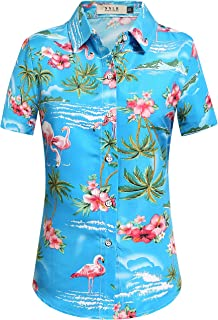Women's Flamingos Floral Casual Short Sleeve Hawaiian Shirt