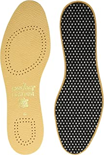 Pedag Flat 2 Pair Tanned Leather Insole with Effective Active Carbon Filter for Odor Control, US W6EU 36, 2.9 Ounce
