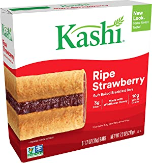 Kashi Soft Baked Breakfast Bars - Ripe Strawberry, Box of 6 (Pack of 8)