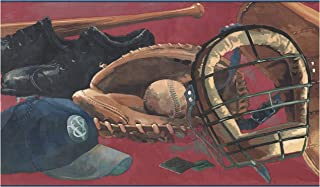 Prepasted Wallpaper Border - Baseball Glove Ball Bat Catcher Mask Cap Blood Red Wall Border Retro Design, Roll 15 ft. x 9 in.