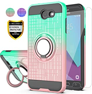 AYMECL Galaxy J3 Emerge/J3 Eclipse/J3 Prime/J3 Mission/Luna Pro/Sol 2/Express Prime 2 Case with HD Screen Protector, Ring Holder Gradient Protective Case for Galaxy J3 2017-BG Mint&Rose Gold
