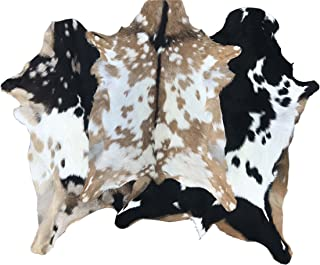 Authentic Goatskin Leather Rug - Chrome Tanned Hair On Goat Hide From Colombia. Perfect Novelty Home Decor for Bedrooms, Living Rooms Or Even Dorm Rooms. (6-7 Square Feet)
