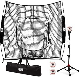 Morvat Baseball Net and Baseball Tee Bundle, Baseball Pitching Net, Baseball Training Equipment for Hitting and Pitching, Baseball Accessories, Bownet | Includes 3 Softballs and Carry Bag, 7'x7'