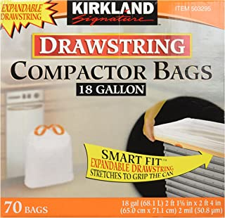Kirkland Signature Compactor Bags, 18 Gallon, Smart Fit Gripping Drawstring,
