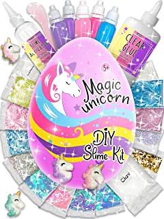 Laevo Surprise Unicorn Slime Kit for Girls - All-Inclusive DIY Slime Making Kits with 5 Secrets - Includes Glue, Activator and Magic Add ins - Butter or Cloud or Glitter or Stardust Slime