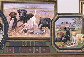 Retro Dogs in Framed Pictures Vintage Wallpaper Border Modern Design, Roll 15' x 10''