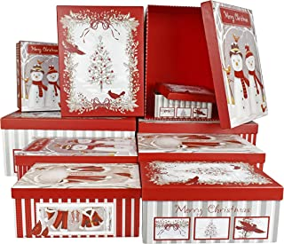 Set of 10 Vinatge Christmas Holiday Nesting Gift Boxes; 10 Different Sizes – Perfect for Preparing for the Holidays!