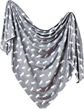 Large Premium Knit Baby Swaddle Receiving Blanket Grey and White Moose
